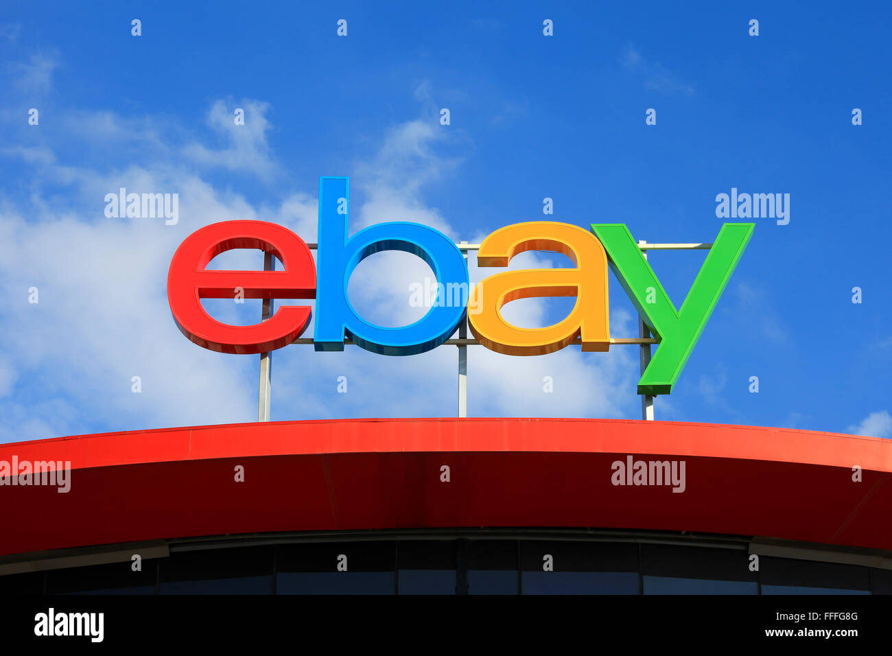 Ebay logo, ebay is an American multinational corporation and e-commerce company, providing consumer-to-consumer - Stock Image