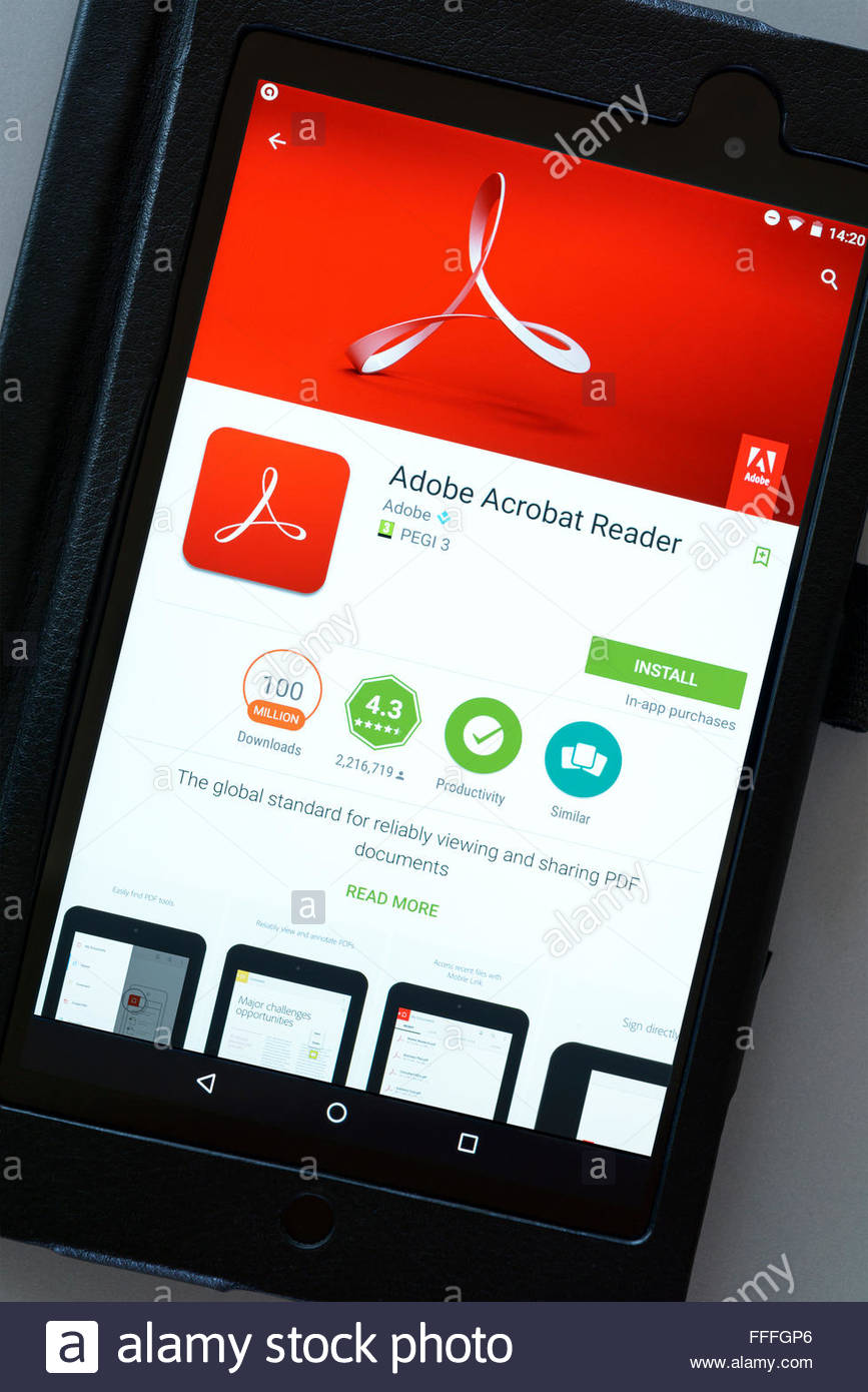 Adobe PDF app Acrobat Reader, app on an android tablet PC, Dorset