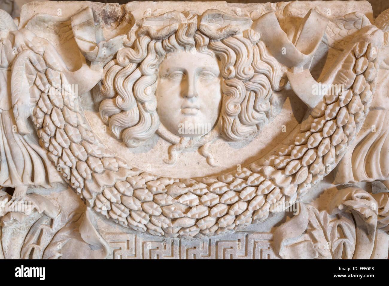 Hellenistic sculpture in archaeology museum, Pamukkale, Hierapolis, Denizli Province, Turkey - Stock Image