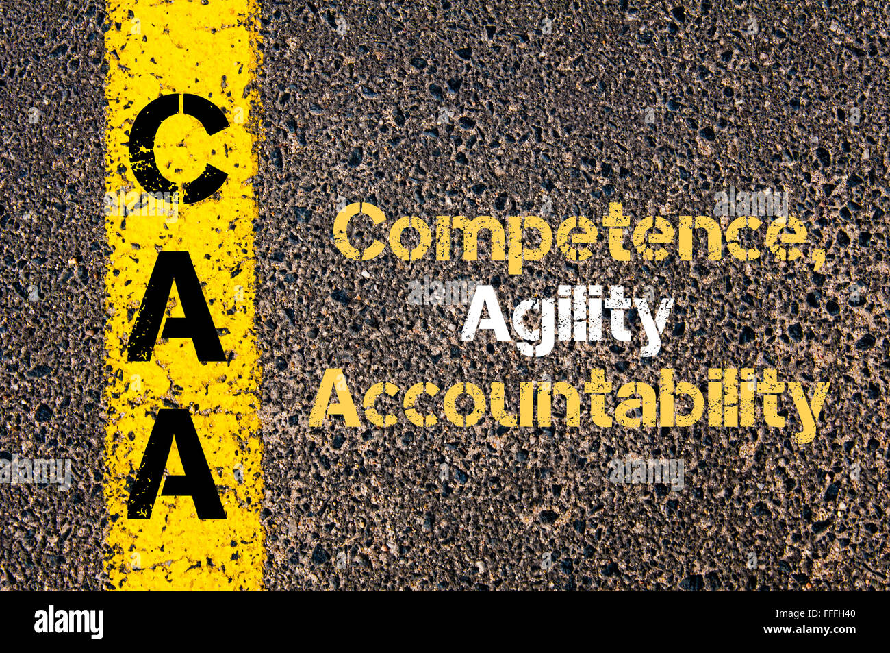 Concept image of Business Acronym CAA Competence, Agility, Accountability written over road marking yellow paint - Stock Image