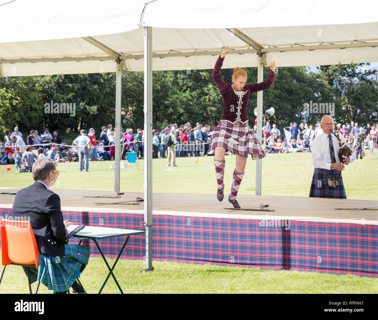 Highland dancing competition at the Stirling Highland games , Stirling in Scotland Stock Photo
