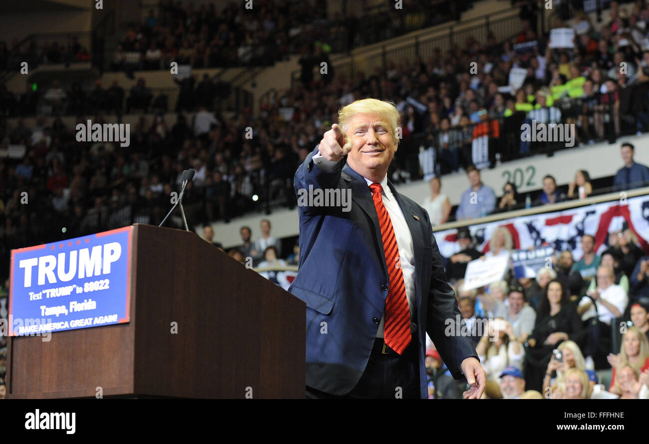 Tampa, Florida, USA. 12th Feb, 2016. Republican presidential candidate Donald Trump speaks at a campaign rally at - Stock Image
