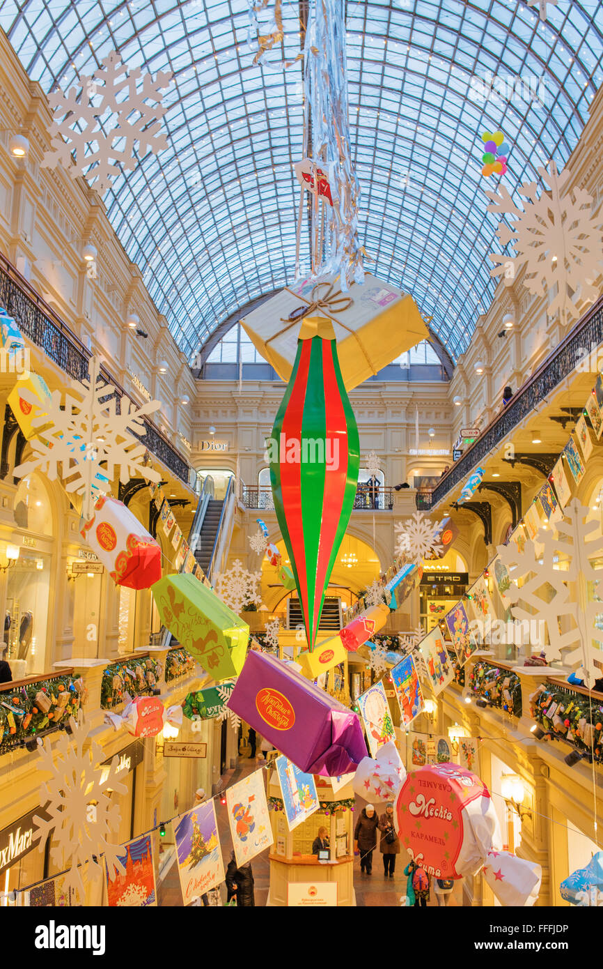 GUM interior, Decoration and illumination for New Year and Christmas holidays, Moscow, Russia - Stock Image