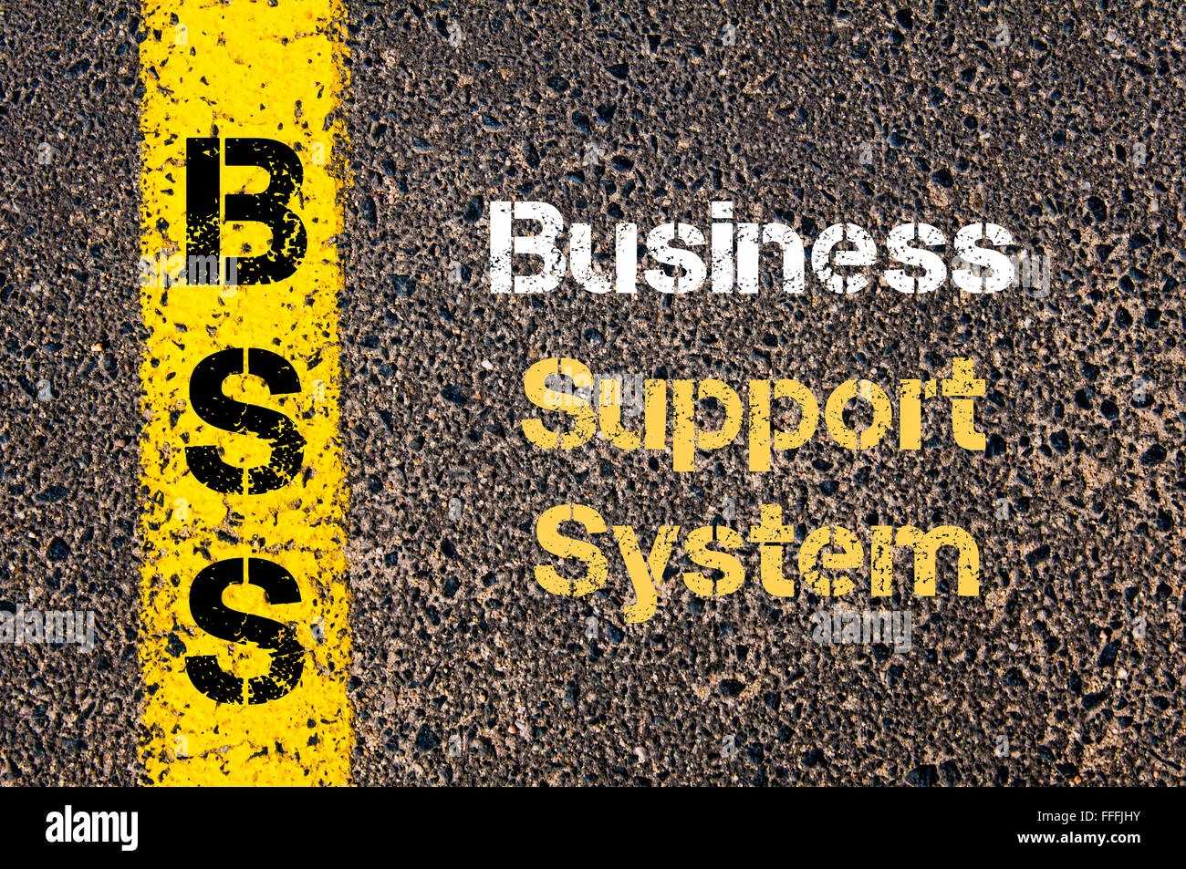 Concept image of Business Acronym BSS Business Support System written over road marking yellow paint line - Stock Image