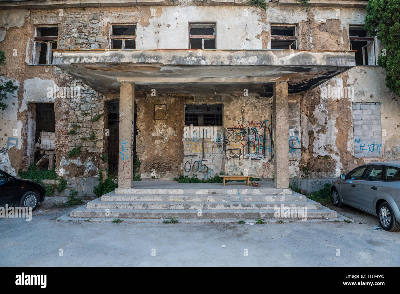 Abandoned building in Mostar city, Bosnia and Herzegovina - Stock Image