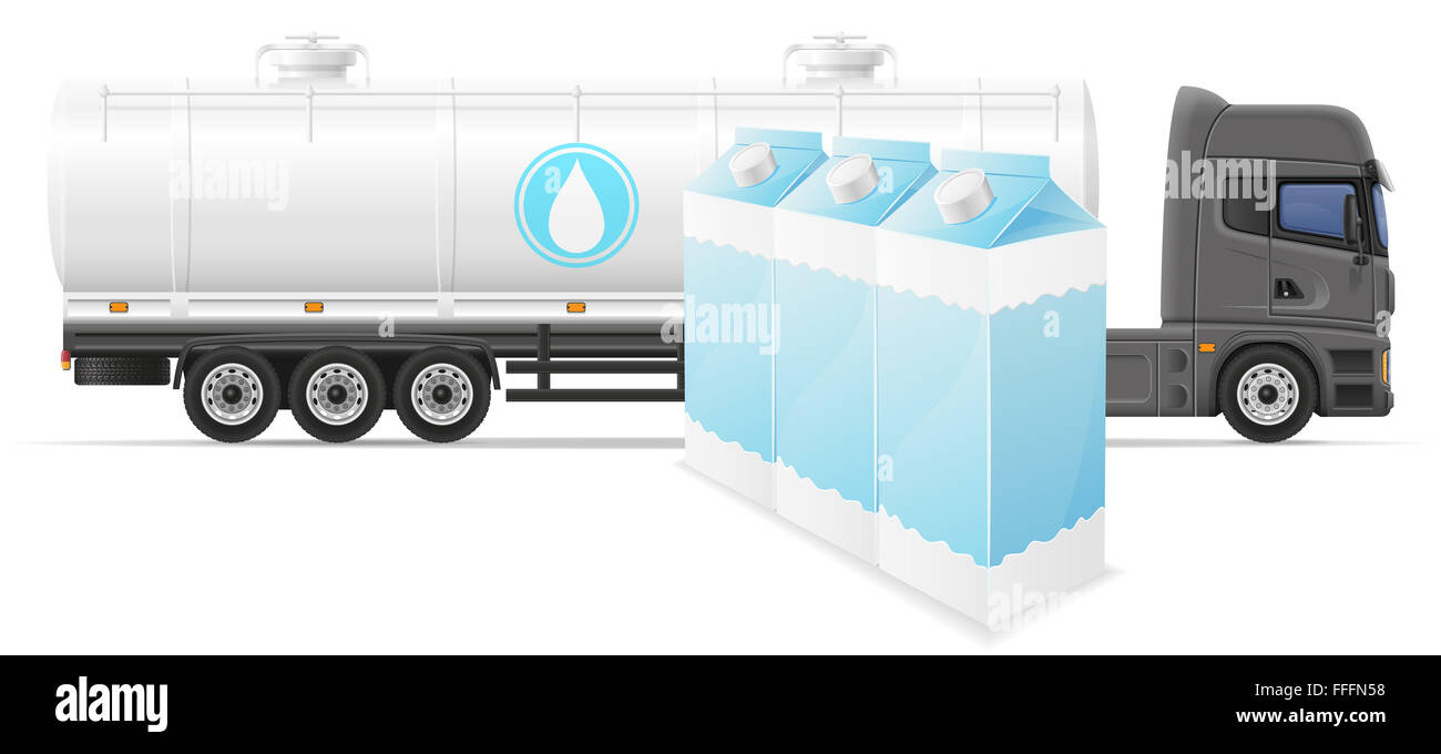 Semi Truck Trailer Van Box Stock Photos Car Wiring Image Search Results Delivery And Transportation Of Milk Concept Illustration Isolated On White Background