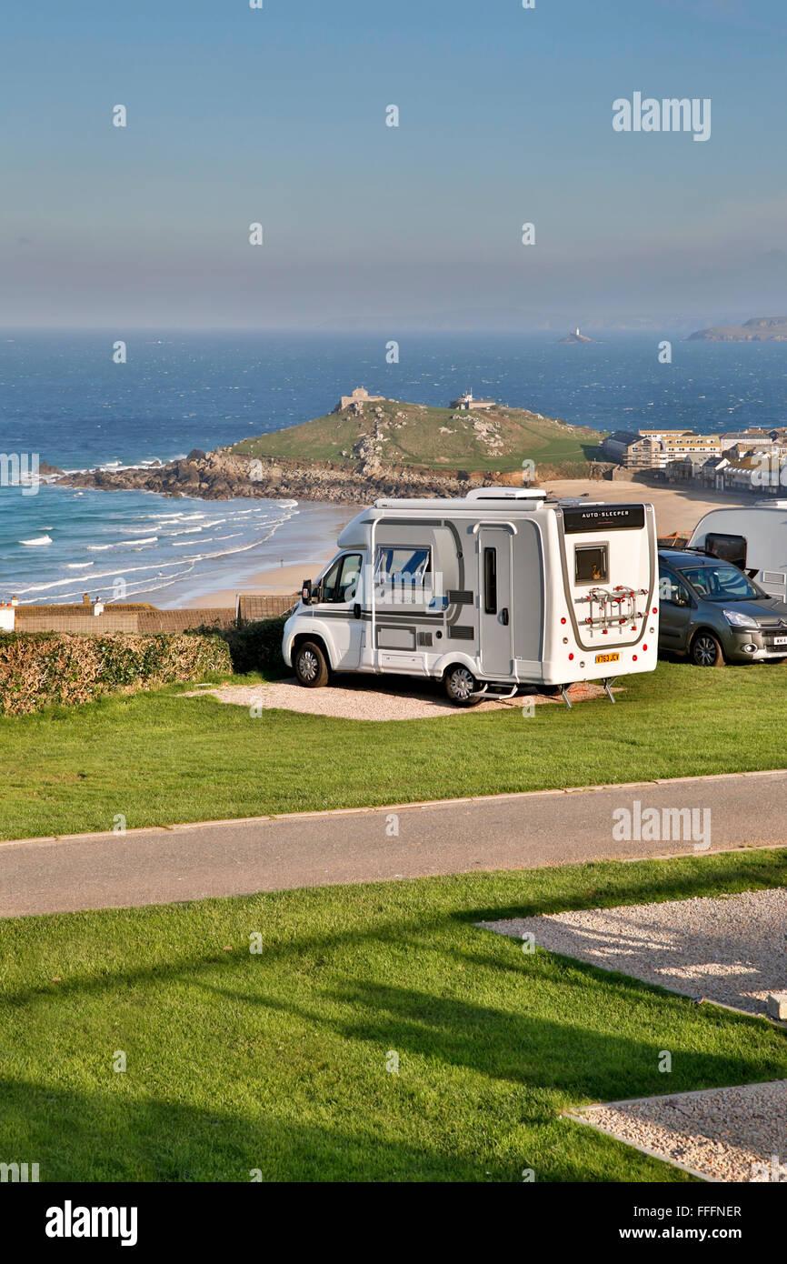Motorhome; Ayr holiday Park; St Ives; oOrnwall; UK - Stock Image