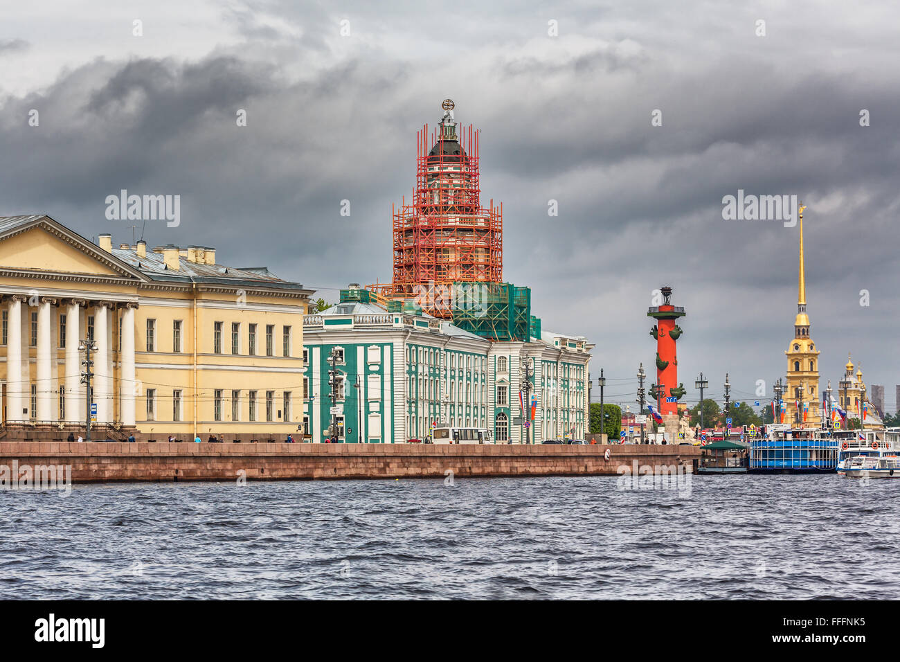 Kunstkamera, Rostral column and Peter and Paul fortress from Neva river, Saint Petersburg, Russia - Stock Image
