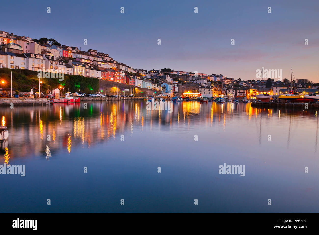 Brixham Harbour at Night; Devon; UK - Stock Image