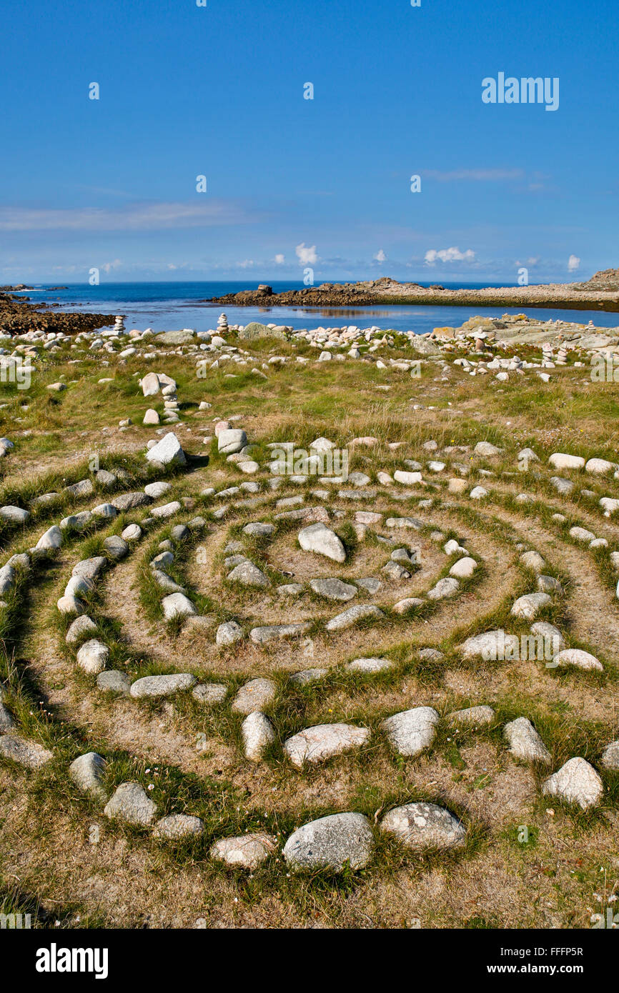 Stone Maze; Bryher; Isles of Scilly; UK - Stock Image