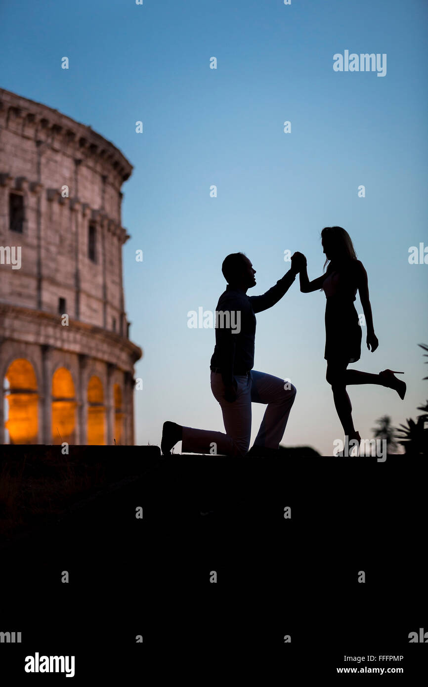 Couple at Colosseum - Stock Image