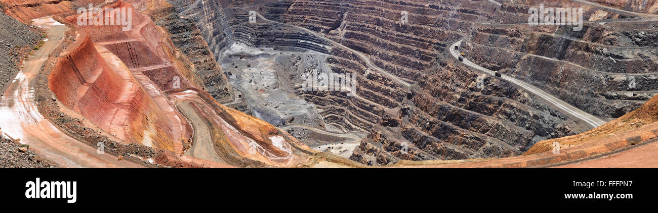 Close up fragment of open super pit gold ore mine in Western Australia as illustration of resource boom and heavy - Stock Image