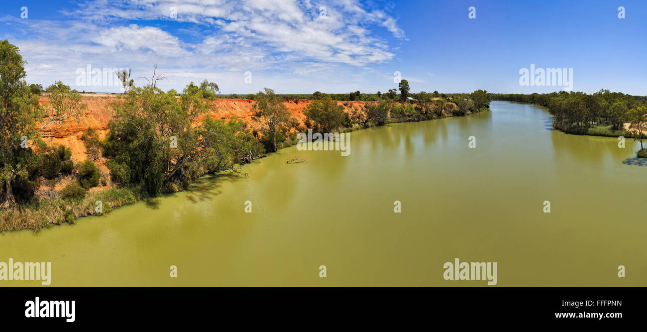 panoramic view of wide and the biggest australian river Murray from Bridge on a sunny day Stock Photo
