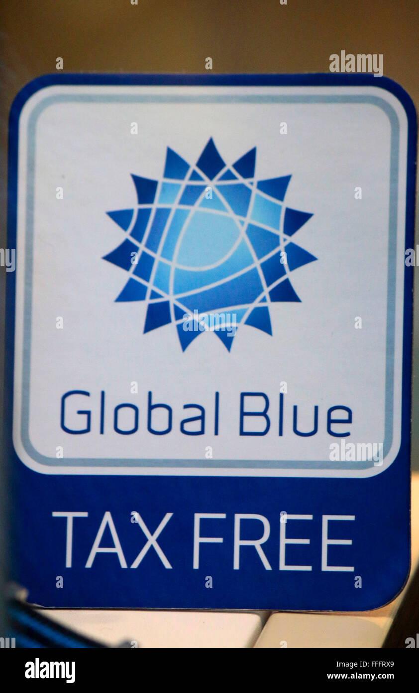 Markennamen: 'Global Blue Tax Free', Berlin. - Stock Image