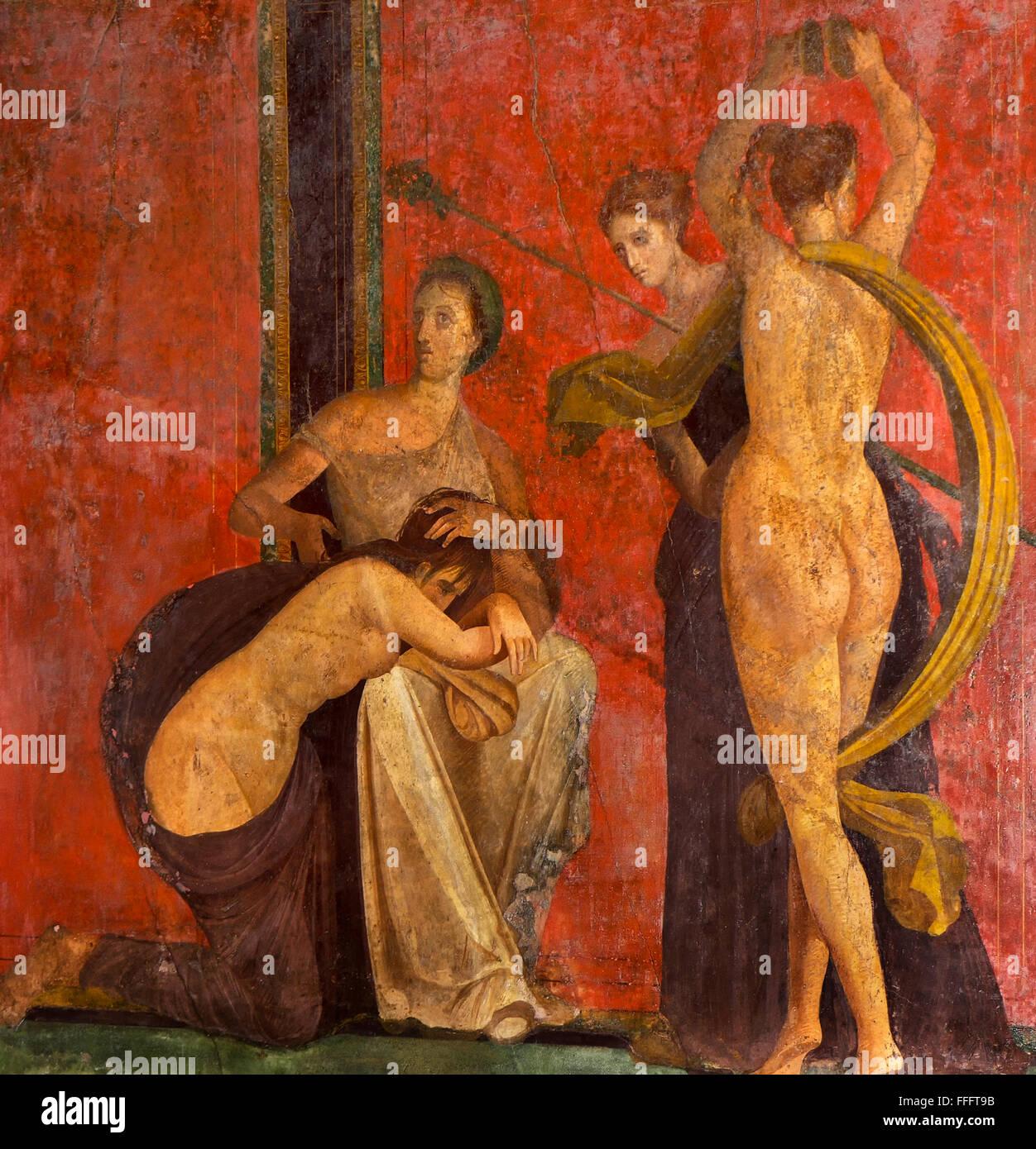 NAPLES, ITALY   JANUARY 14, 2015 Fresco from Pompeii, Villa of Mysteries. Italy - Stock Image