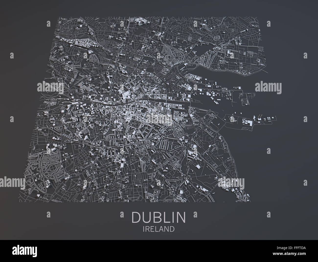 Satellite Map Of Ireland.Dublin Map Satellite View Ireland Stock Photo 95620150 Alamy