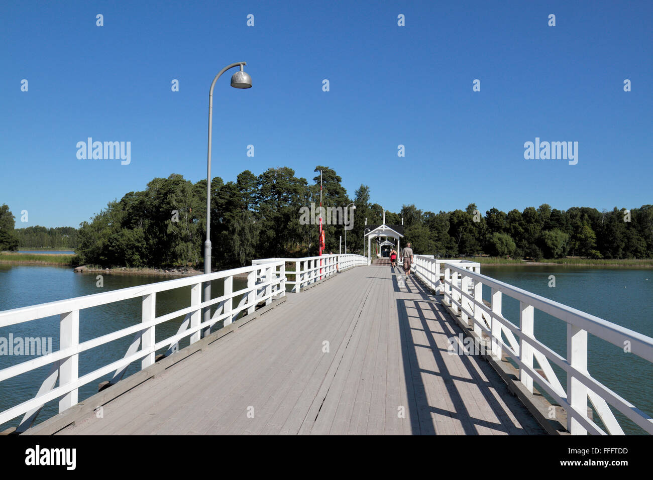 The bridge, with pavilions, linking Seurasaari Island and Open-Air Museum to the mainland, Helsinki, Finland. Stock Photo