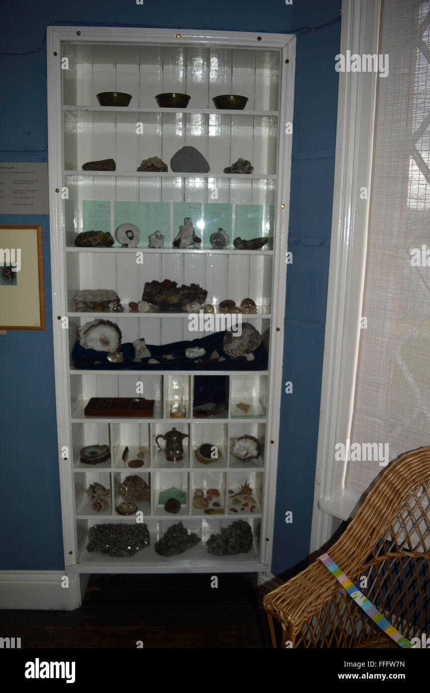Fossil collection of John Ruskin at Brantwood House Coniston Lake District - Stock Image