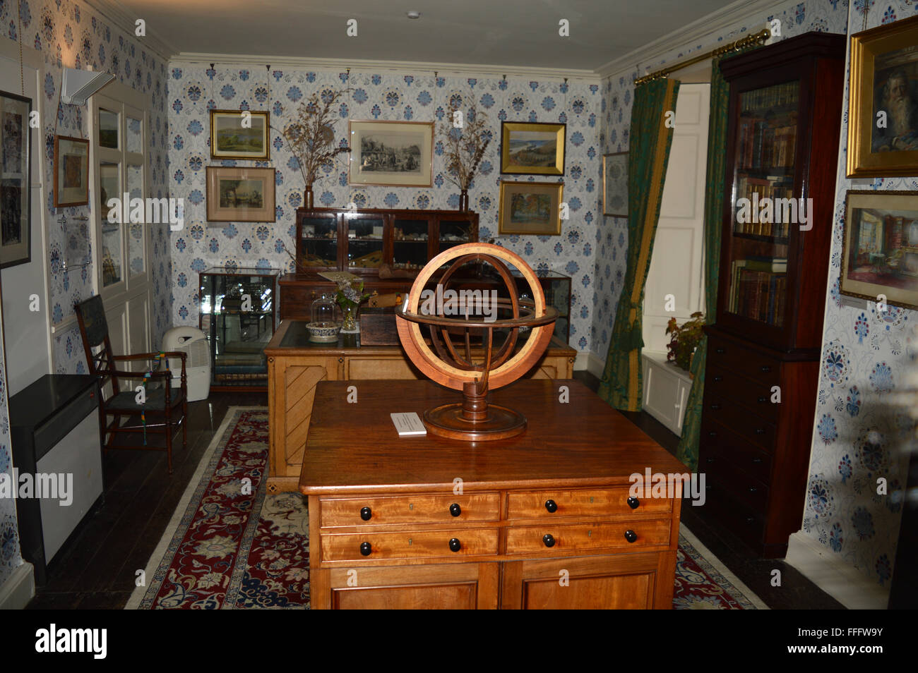 The study at Brantwood House Coniston Lake District - Stock Image