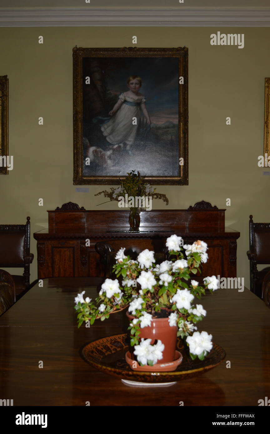 Painting of John Ruskin as a child in dining room at Brantwood House Coniston Lake District - Stock Image