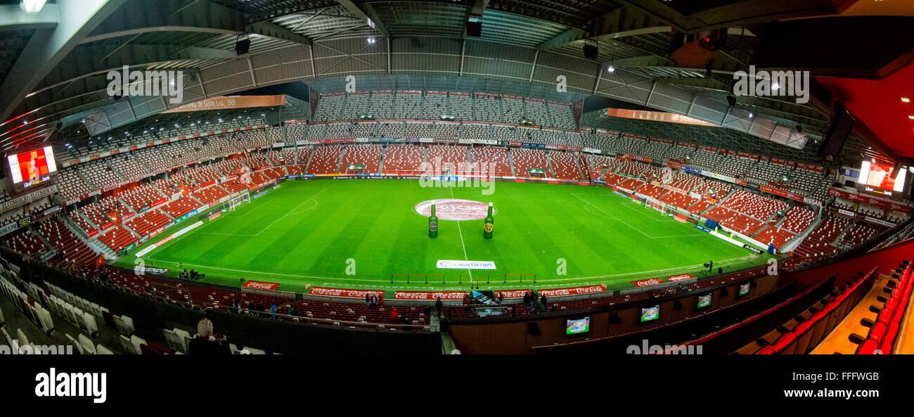 Gijon, Spain. 12th February, 2016. Panoramic of the Molinon Stadium, before the start of football match of Spanish - Stock Image