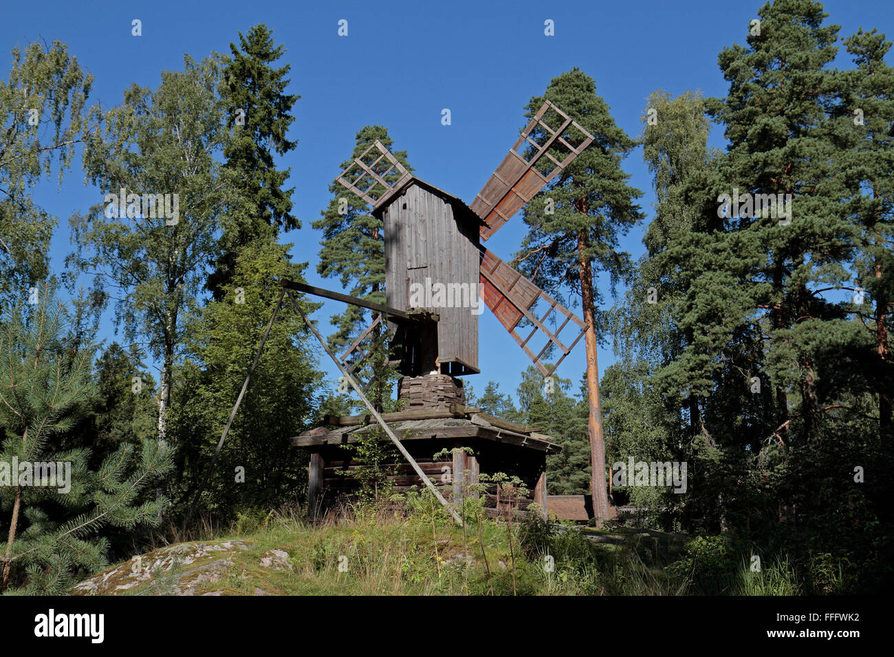 Wooden windmill (Tuulimylly) on Seurasaari Island and Open-Air Museum, Helsinki, Finland. - Stock Image