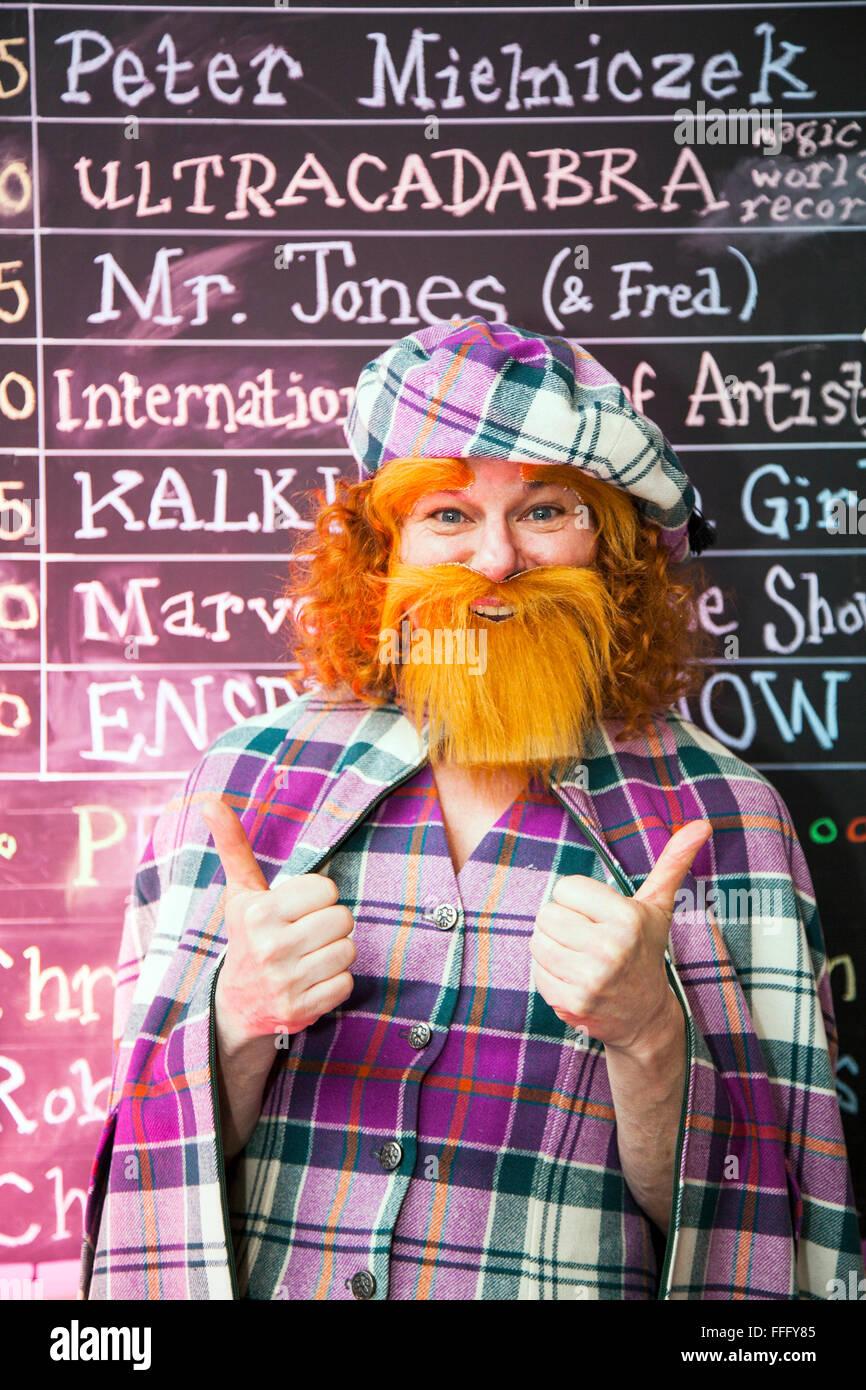 Bearded Showzam Professional Woman Clown Circus Town Winter Stock