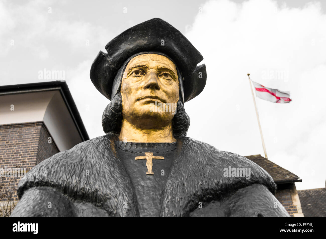 Sir Thomas Moore Statue, Cheyne Walk, Chelsea, Royal Borough of Kensington and Chelsea, London, England, United - Stock Image