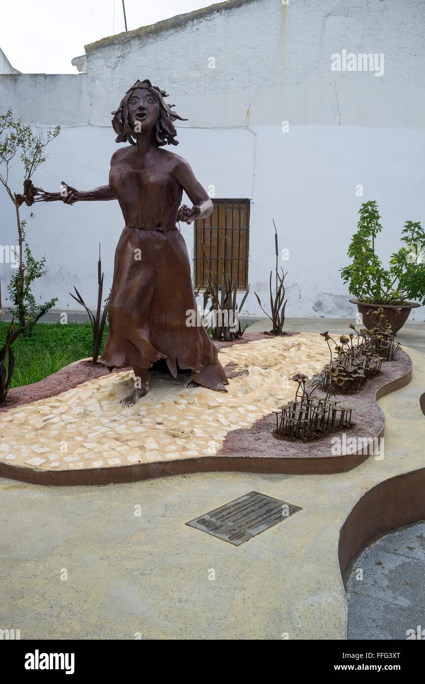 Statue of Aguedilla by Monika Rasco celebrates the work of the poet Laureate Juan Ramon Jimenez. Moguer, Huelva. - Stock Image