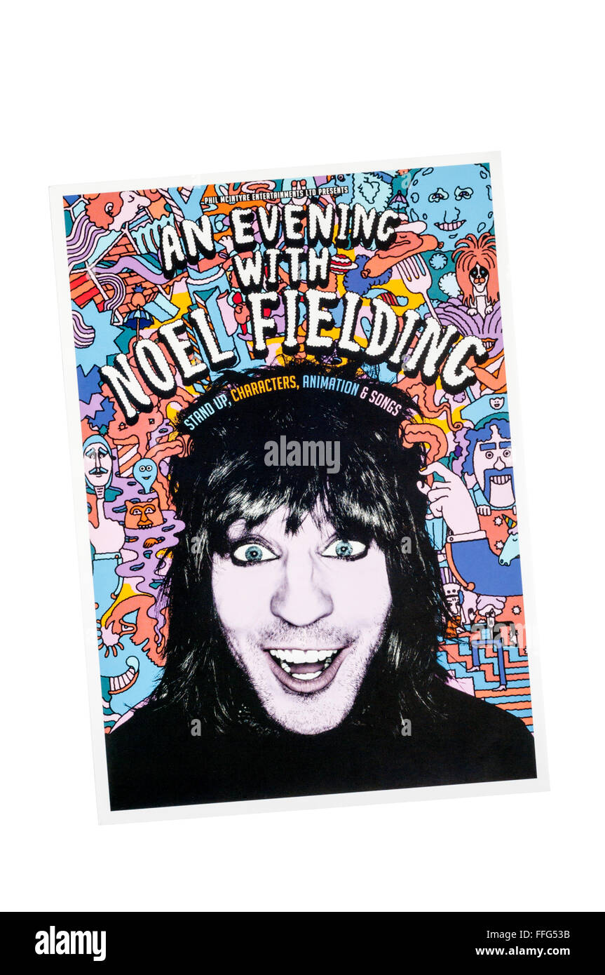 Promotional flyer for An Evening with Noel Fielding. - Stock Image