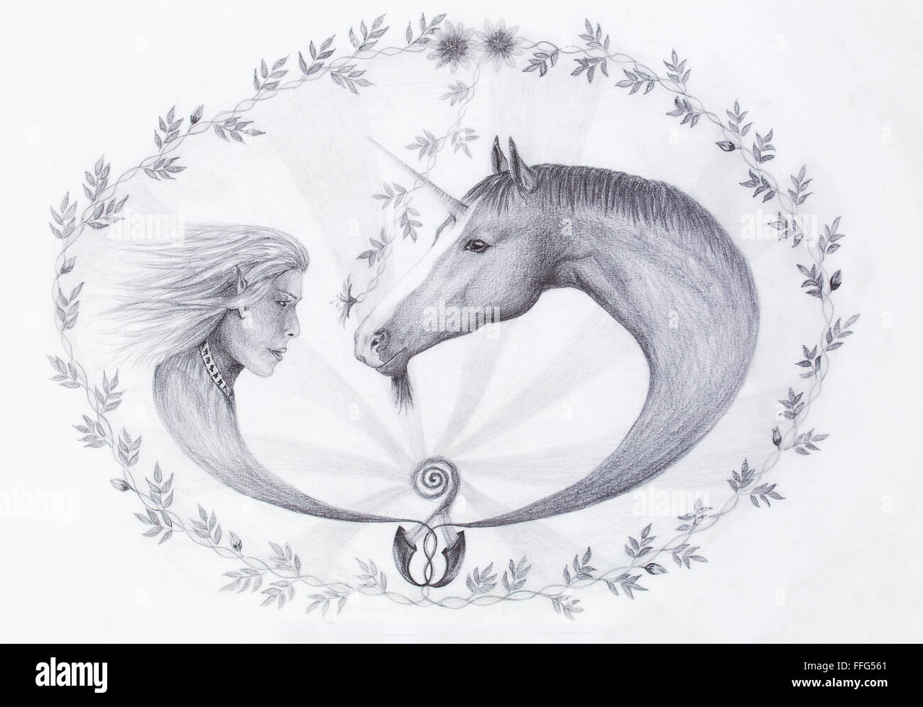 Hand drawing Elf and unicorn with beautiful flower. Draw on vintage paper. Profile portrait Stock Photo