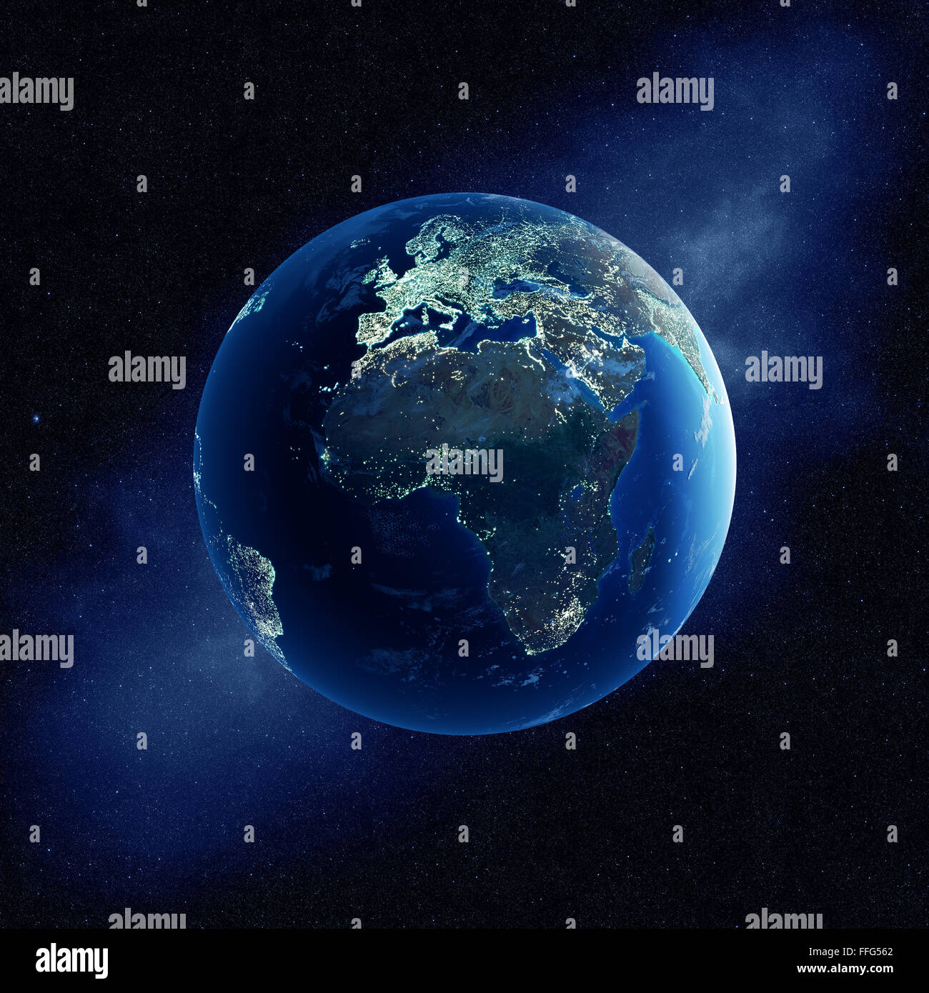Earth With City Lights At Night In Outer Space With Africa