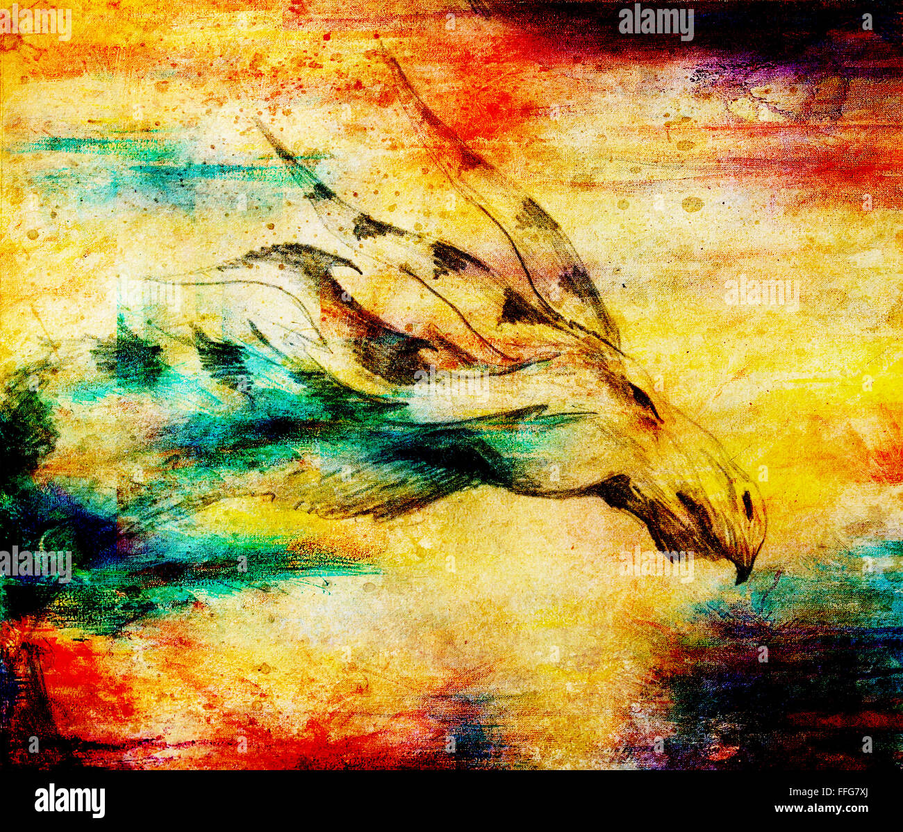 pencil drawing dragon on old paper background and color spots Stock Photo