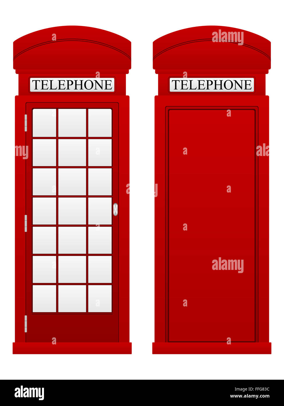Telephone box on a white background. - Stock Image