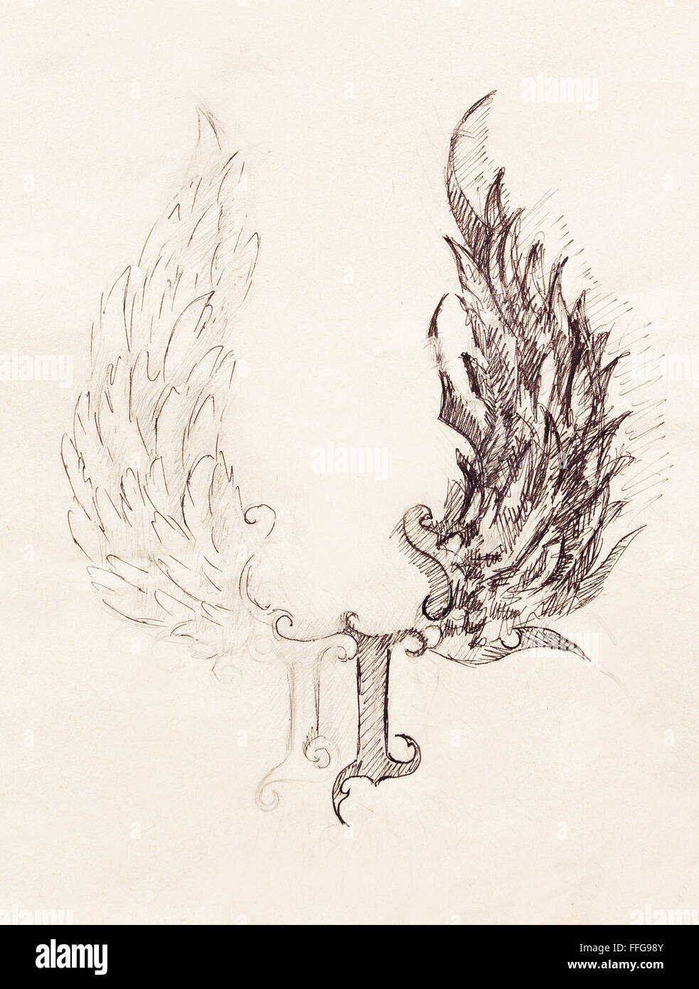 Pencil drawing on old paper angel wings and rome number god and devil wings