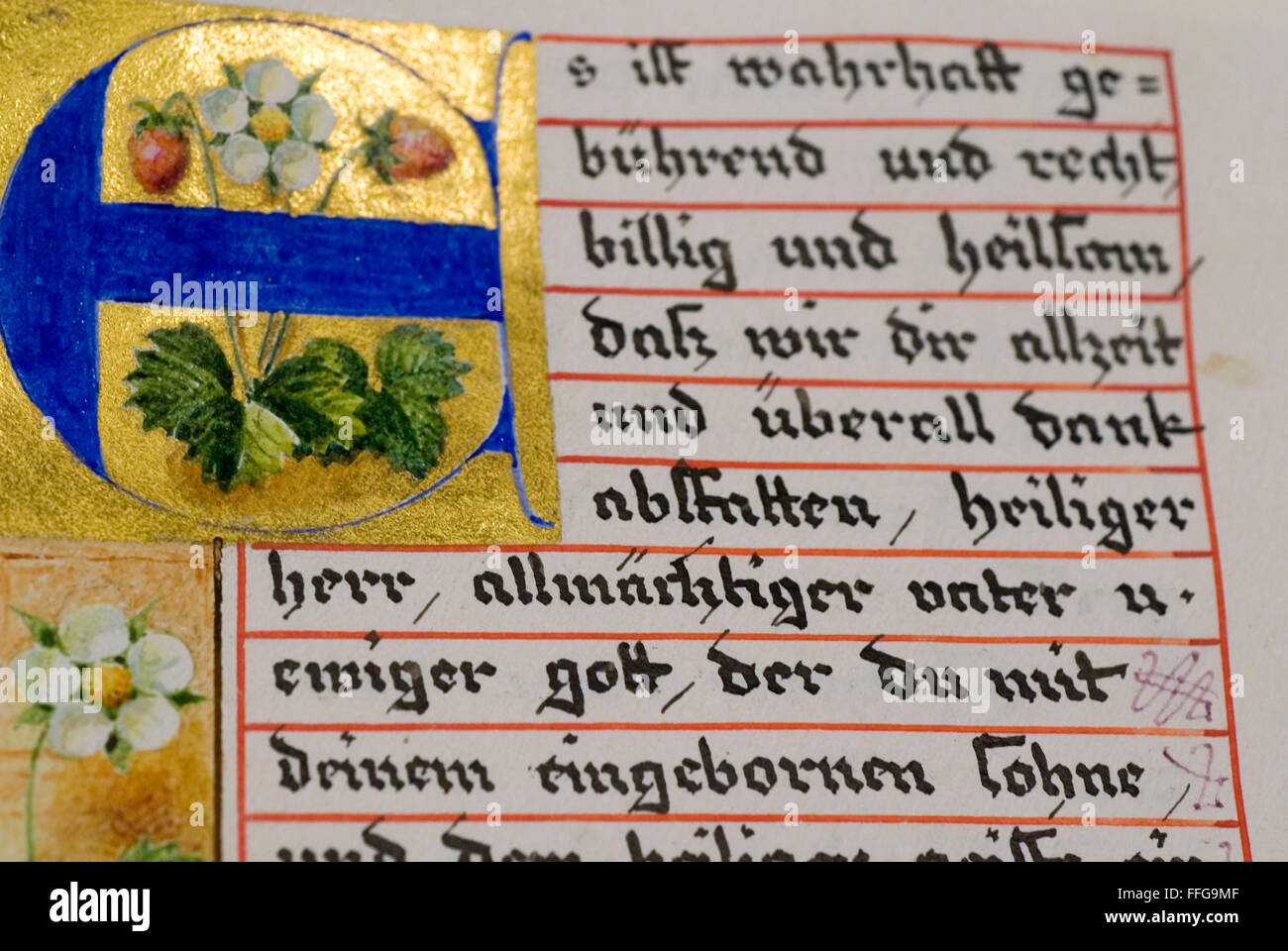 Historic, hand-written biblical script at a convent library, Germany,  europe Stock Photo
