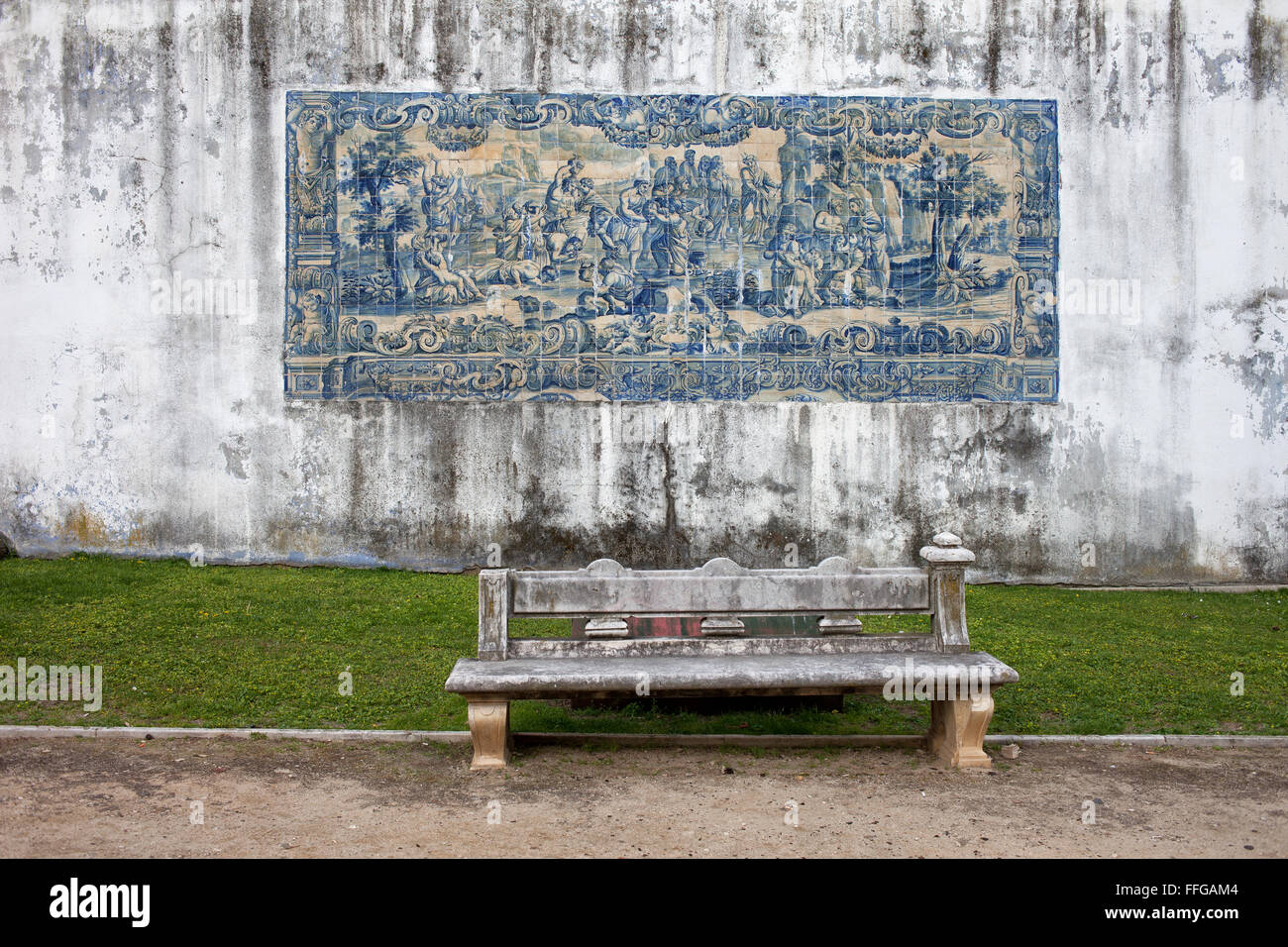 Azulejos tiles on Agues Livres Aqueduct wall in Lisbon, Portugal - Stock Image