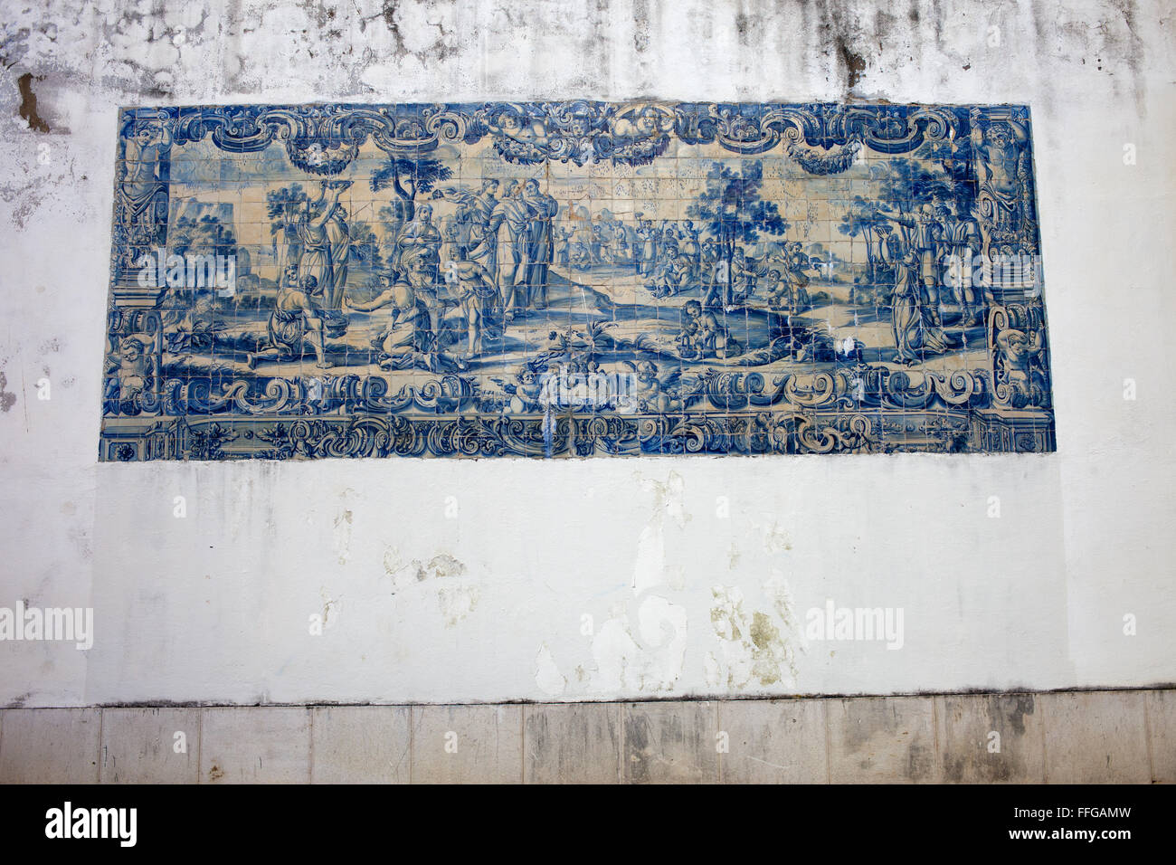 Azulejo tiles on Agues Livres Aqueduct wall in Lisbon, Portugal - Stock Image