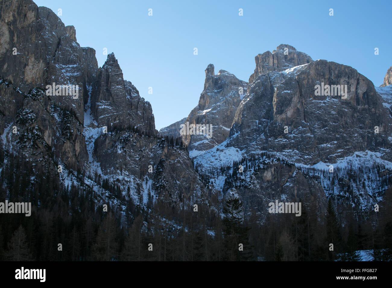 The mountain peaks of Sella Ronda near Corvara, Alta Badia, Dolomites, Belluno, Italy - Stock Image