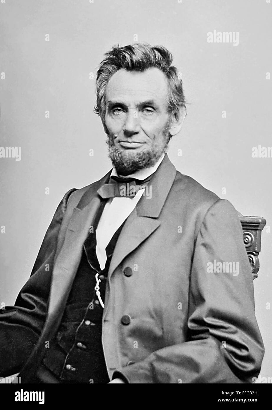 Abraham Lincoln. Photograph of President Abraham Lincoln taken c.1863 by Mathew Brady - Stock Image