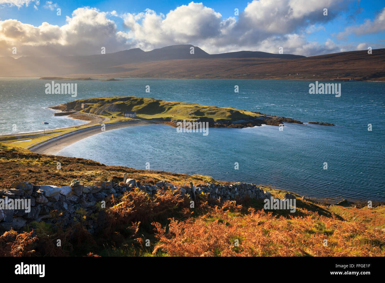 Ard Neackie on Loch Eriboll in the North West Highlands of Scotland, captured on a stormy afternoon in late October. - Stock Image