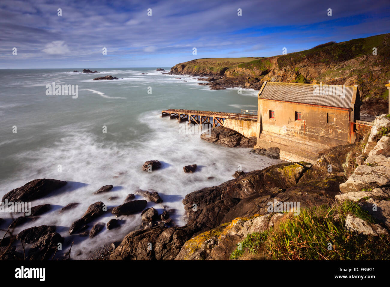 The old RNLI lifeboat station near Lizard Point in Cornwall. - Stock Image