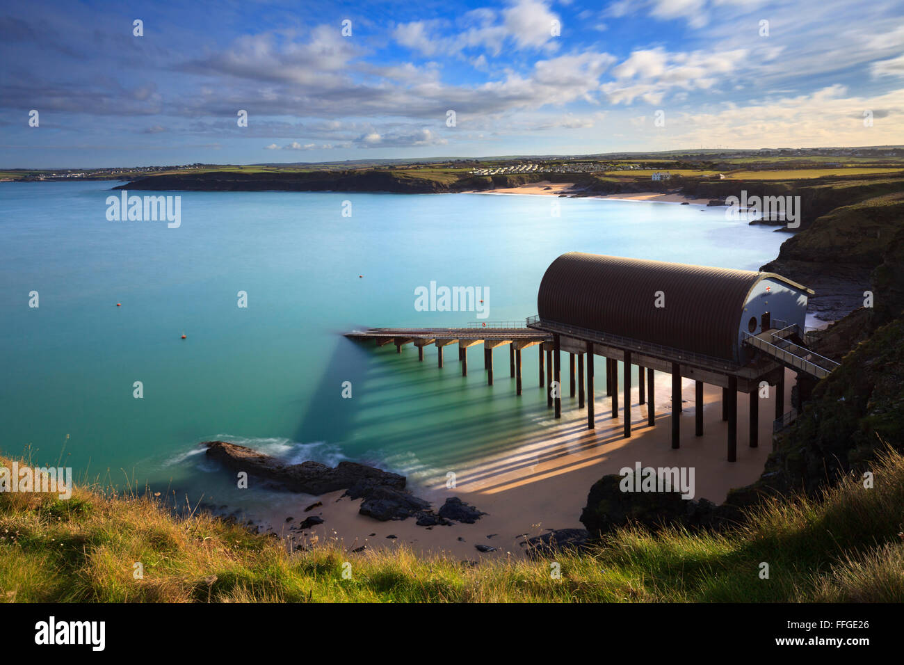 Padstow Lifeboat Station at Mother Ivey's Bay in Cornwall. - Stock Image