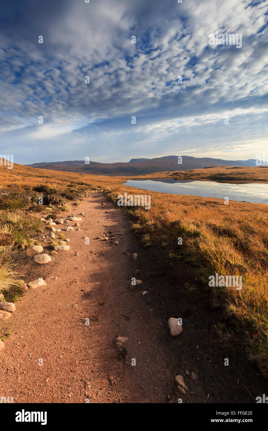 The footpath to Sandwood Bay, near Kinlochbervie in Sutherland, Scotland - Stock Image