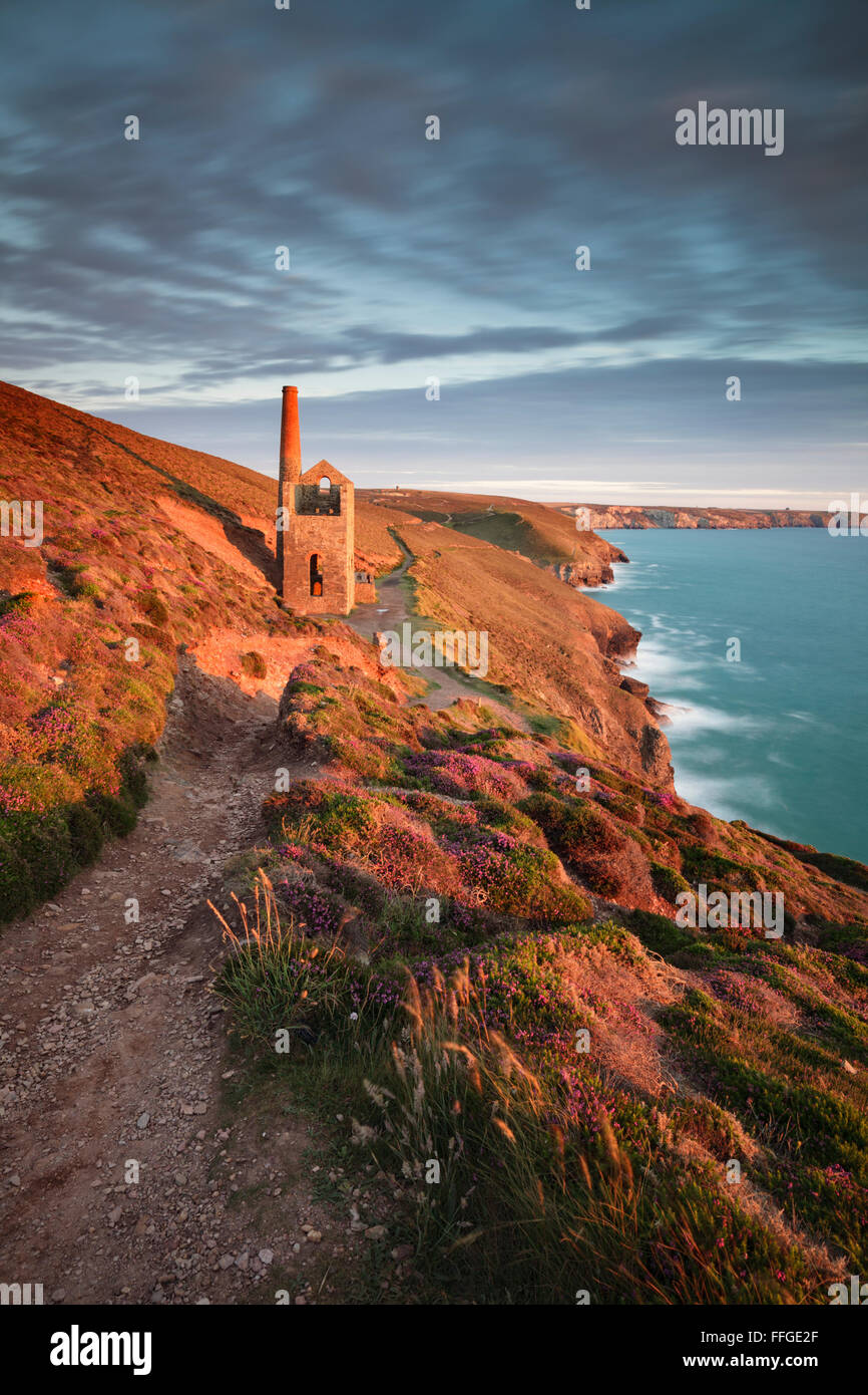 A Cornish Engine House at Wheal Coates in Cornwall. - Stock Image