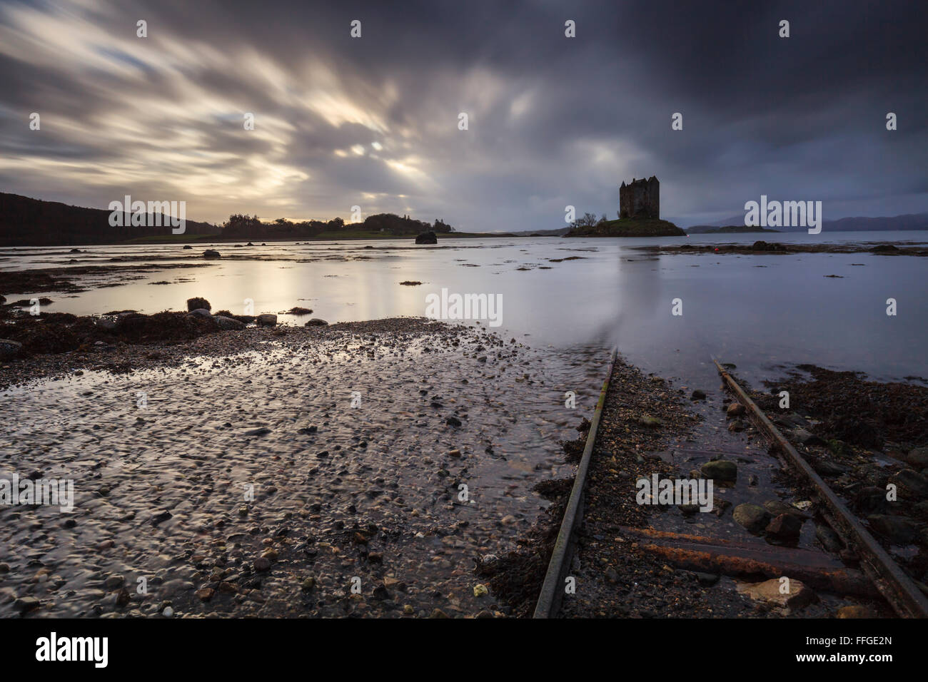 Rail tracks at Castle Stalker in Argyll and Bute, - Stock Image