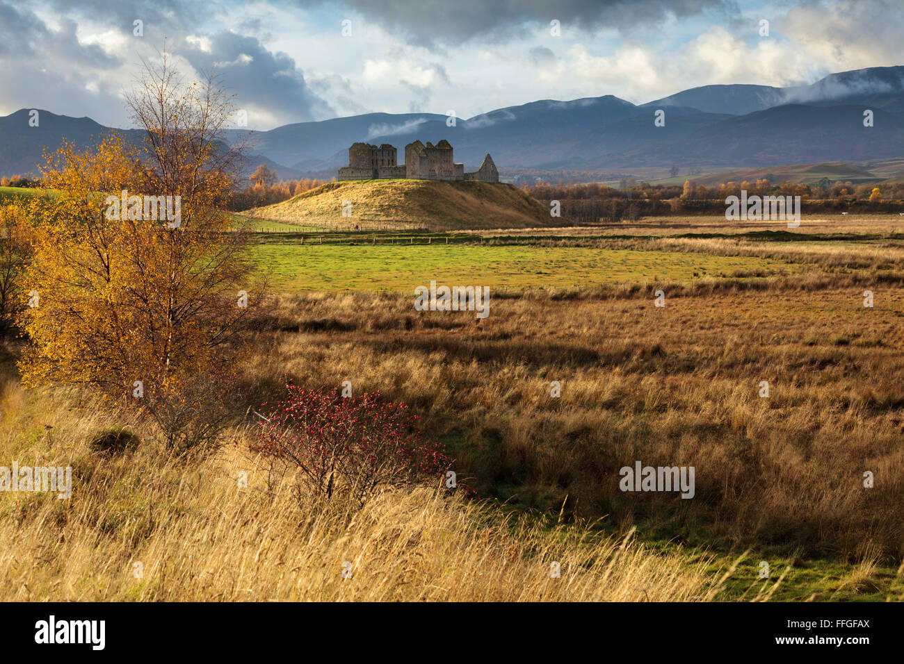 Ruthven Barracks near Kingussie in the Cairngroms National Park, captured during a brief spell of sunlight. - Stock Image