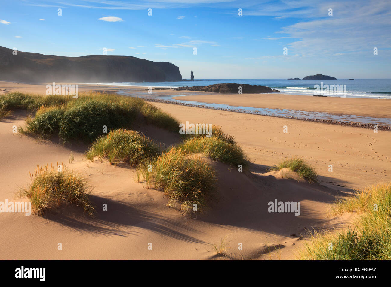 Sand dunes at the remote but popular Sandwood Bay, to the north of Kinlochbervie in the far North West Highlands - Stock Image