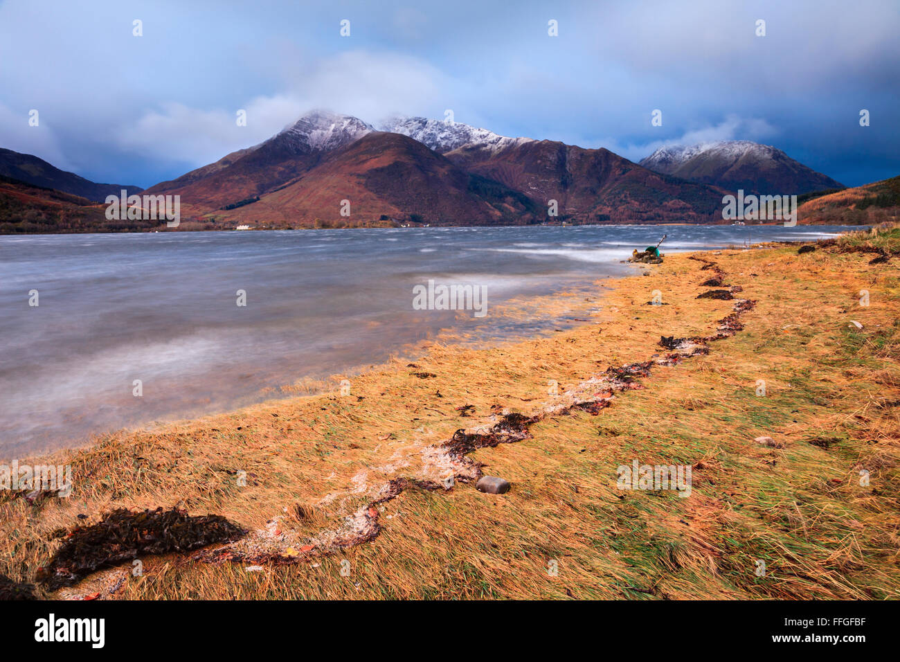 Beinn a Bheithir captured from the north shore of Loch Leven in the Scottish Highlands, on a stormy morning in early - Stock Image