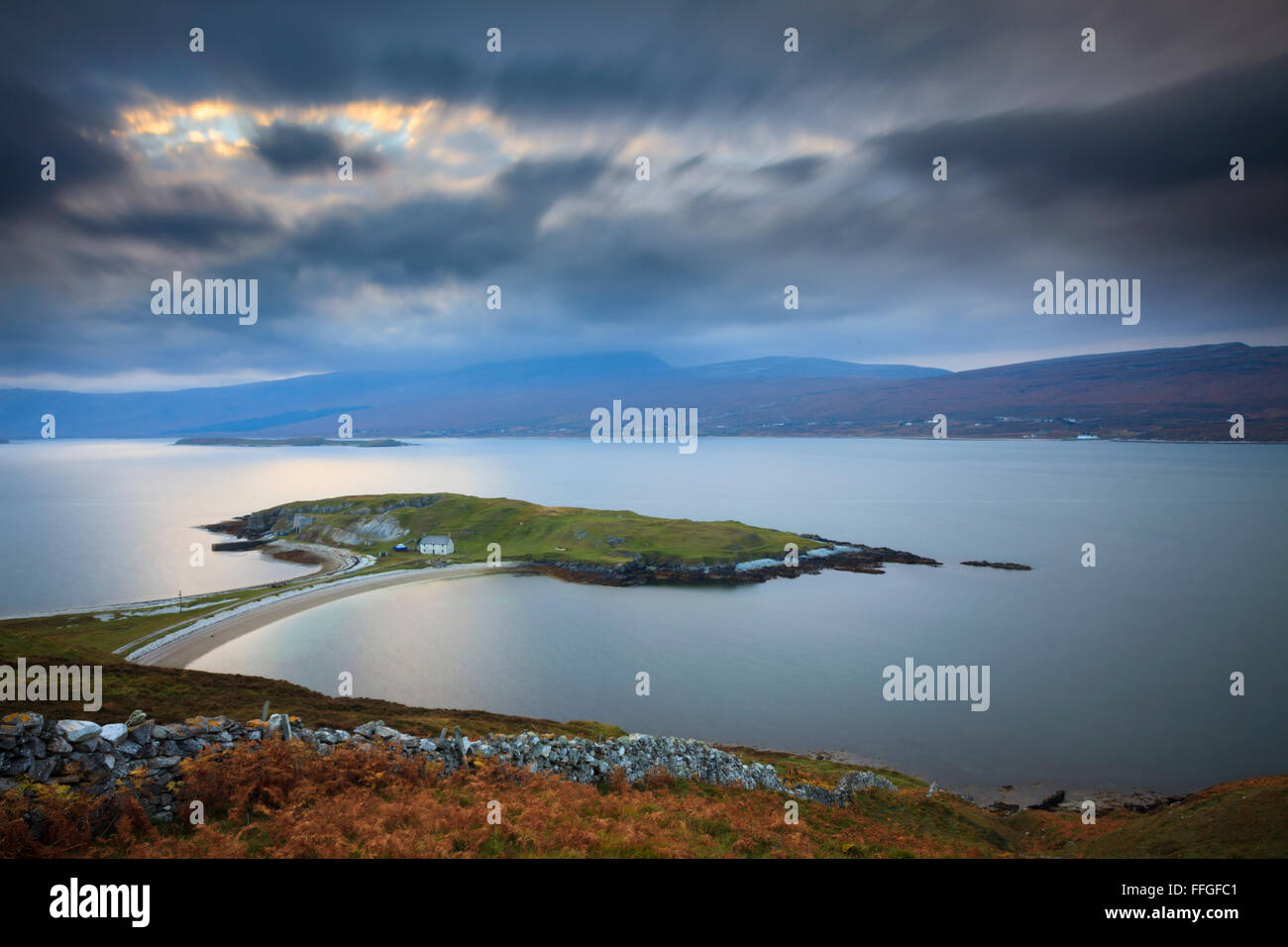 Ard Neackie on Loch Eriboll in the North West Highlands of Scotland, captured at sunset in late October. - Stock Image